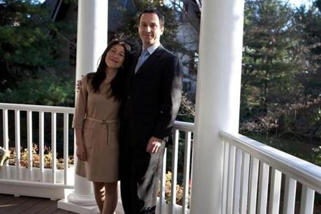 Fabien Fieschi, the consul general of France in Boston, with his wife, Yuki, at their home in Boston.